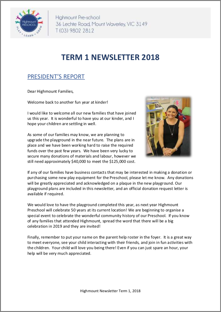 Newsletters - Highmount Preschool